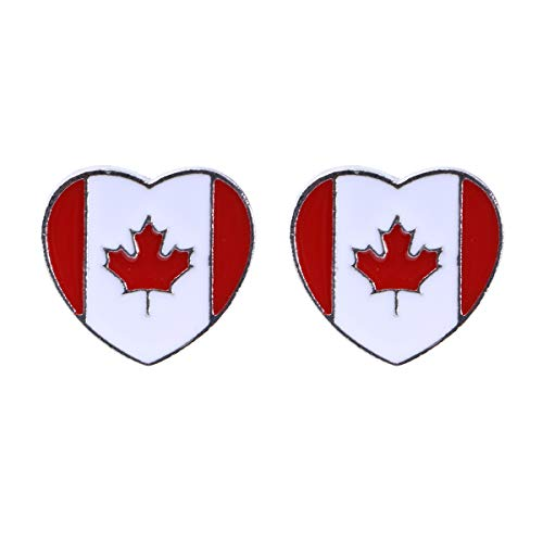 TENDYCOCO 2 Pcs National Flag Brooch Creative Alloy Lapel Pin Brooch Costume Jewelry Decoration for Men and Women (Canada Flag Pattern) von TENDYCOCO