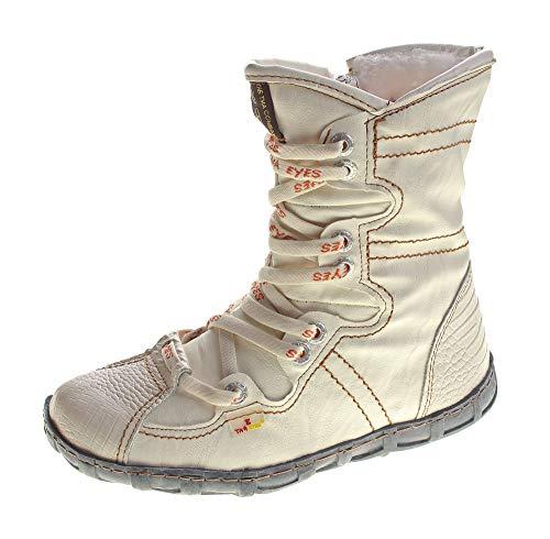 TMA Leder Stiefeletten Damen Weiß Köchel Schuhe echt Leder Winter Stiefel  gefüttert Gr. 36 von 4ee134efaa