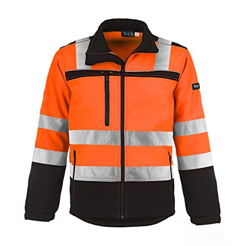 TMG® Herren Arbeitsjacke Softshell, wasserabweisende Warnschutzjacke (Klasse 2), Orange XL von TMG INTERNATIONAL Textile Management Group