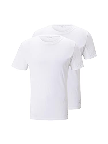TOM TAILOR Herren T-Shirt 2er pack crew-neck, Gr. Medium, Weiß (white 2000) von TOM TAILOR