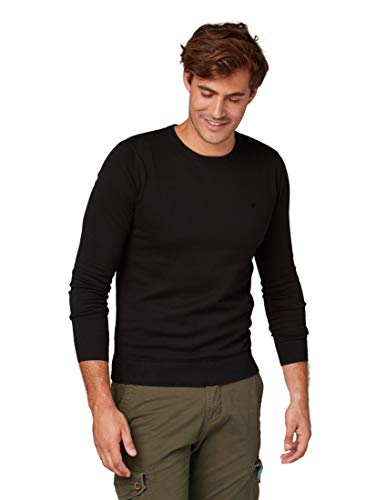 TOM TAILOR für Männer Pullover & Strickjacken Basic Herren-Strick-Pullover Black, M von TOM TAILOR