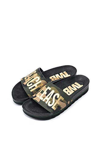 The White Brand Damen Bio Beach Peeptoe Sandalen, Grün (Camo Dark Camo Dark), 36 EU von The White Brand