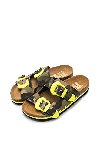 The White Brand Damen Buckle Camo Peeptoe Sandalen, Gelb (Neon Yellow Neon Yellow), 41 EU von The White Brand