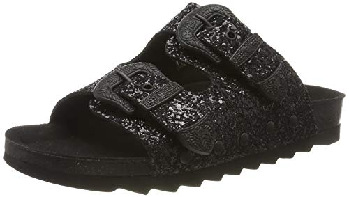 The White Brand Damen Buckle Glitter Peeptoe Sandalen, Schwarz (Black Black), 39 EU von The White Brand