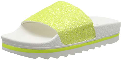 The White Brand Damen Glitter Matte Peeptoe Sandalen, Gelb Neon Yellow, 39 EU von The White Brand