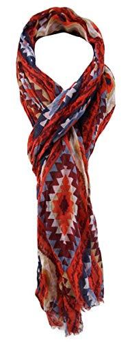 180 x 70 cm 100/% Modal Schal in rot grün grau gelb schwarz gemustert