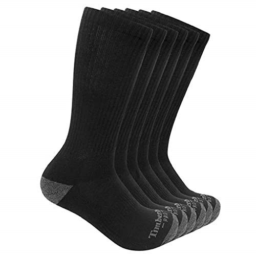 Timberland PRO Herren Men's Performance Crew Length 1/2 Cushion Socks 6-Pack Freizeitsocken, schwarz, XX-Large von Timberland