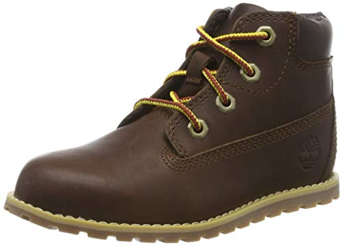 Timberland Unisex-Kinder Pokey Pine 6In Boot with Side Zip Klassische Stiefel, Braun (Dark Brown Full Grain), 23 EU von Timberland