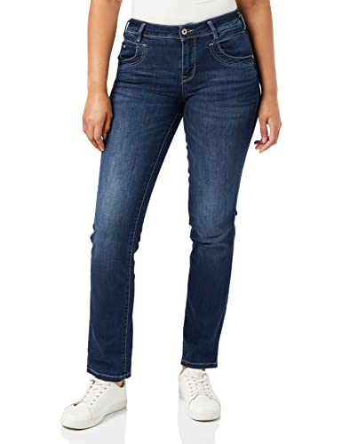 TOM TAILOR Damen Alexa Straight Jeans, Blau (Dark Stone Wash Denim 10282), 34W / 32L von TOM TAILOR