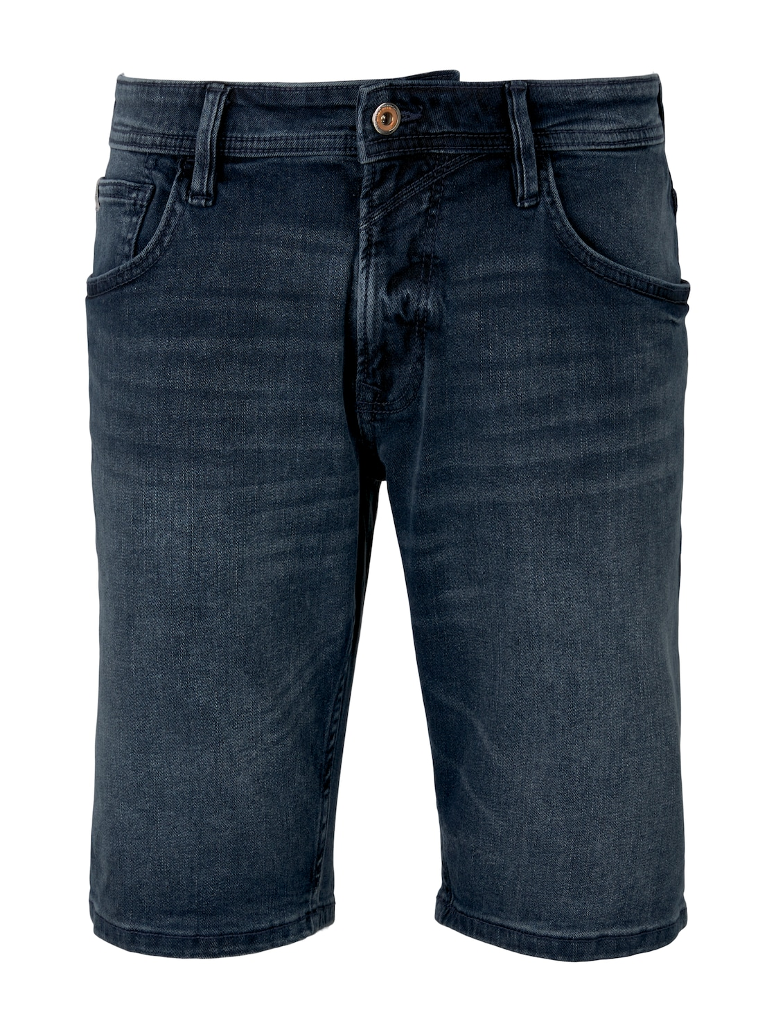 TOM TAILOR DENIM Herren Regular Fit Jeans-Shorts, schwarz/blau, Gr.S von Tom Tailor Denim