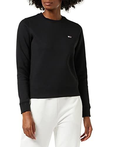 Tommy Jeans Damen TJW Regular Fleece C Neck Pullover, Schwarz, L von Tommy Jeans