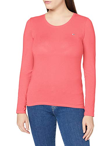 Tommy Jeans Damen TJW Stretch Jersey Scoop Neck T-Shirt, Glamour Pink, Large von Tommy Jeans