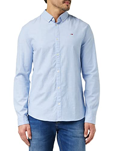 Tommy Jeans Herren TJM Slim Stretch Oxford T-Shirt, Parfüm Blau, XL von Tommy Jeans