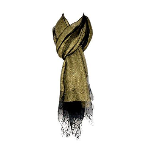 e171db42747379 UK_Stone Damen Luxus Doppelseitig Einfarbig Schal Stola Gross Halstuch  Glaenzend Glitzer mit Fransen (Golden Schwarz