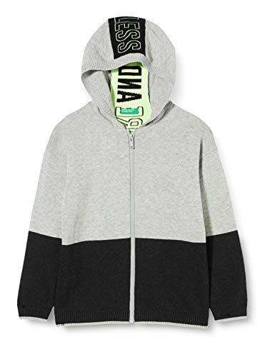 United Colors of Benetton Jungen Felpa Zip Strickjacke, Grau (Grigio/Blu 501), 134/140 (Herstellergröße: Large) von United Colors of Benetton
