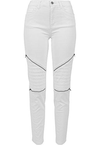 Urban Classics Damen Hose Ladies Stretch Biker Pants, Weiß (White 220), W29 von Urban Classics