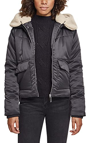 Urban Classics Damen Ladies Sherpa Hooded Jacket Jacke, Mehrfarbig (Blk/Darksand 01483), Medium von Urban Classics