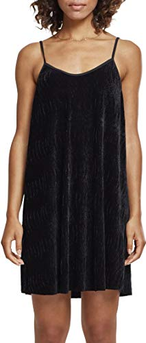 Urban Classics Damen Kleid Ladies Velvet Slip Dress, Schwarz (Black 00007), Large von Urban Classics