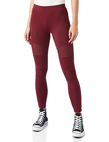 Urban s Damen Ladies Tech Mesh Skinny Leggings, Rot (Port 01157), L von Urban Classics