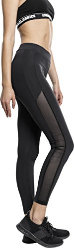 Urban Classics TB1736 Ladies Tech Mesh Stripe Leggings, lange Laufhose für Damen, Trainingshose für Sport und Freizeit, Farbe Schwarz, Größe XL von Urban Classics