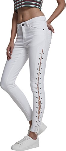 Urban Classics Damen Skinny Jeans Ladies Denim Lace Up Pants, Weiß (White 00220), 38 (Herstellergröße: 28) von Urban Classics