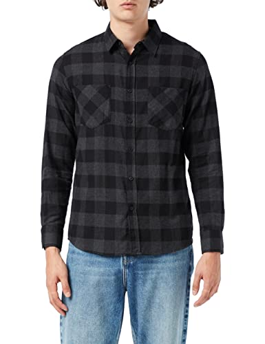Urban Classics TB297 Herren Regular Fit Freizeit Hemd Checked Flanell Shirt, Gr. Kragenweite: 43 cm (Herstellergröße: L), Mehrfarbig (blk/cha 445) von Urban Classics