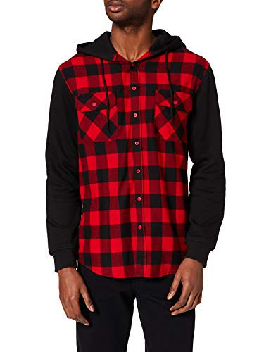 Urban Classics TB513 Herren Regular Fit Freizeit Hemd Hooded Checked Flanell Sweat Sleeve Shirt Mehrfarbig (Blk/Red/Bl 283), Small von Urban Classics