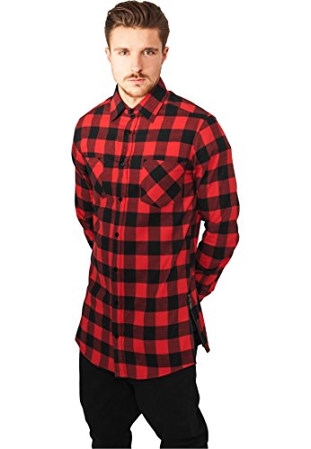 Urban Classics Herren Freizeithemd Side-Zip Long Checked Flanell Shirt, Mehrfarbig (Blk/Red 00044), Medium von Urban Classics