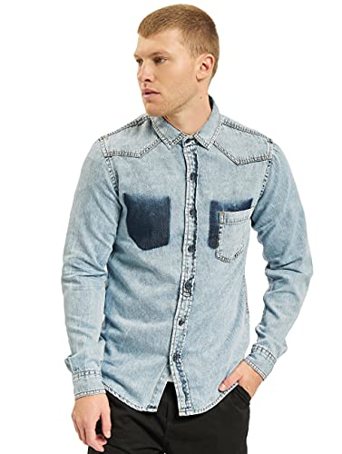 Urban Classics Herren Jeanshemd Denim Pocket Shirt, Blau (Fresh Blue Wash 01379), Large (Herstellergröße: L) von Urban Classics