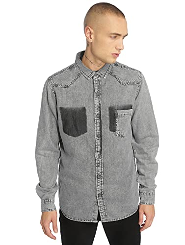 Urban Classics Herren Jeanshemd Denim Pocket Shirt, Grau (Grey Wash 01378), Medium (Herstellergröße: M) von Urban Classics