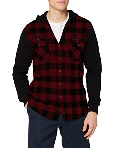 Urban Classics TB513 Herren Regular Fit Freizeit Hemd Hooded Checked Flanell Sweat Sleeve Shirt, Mehrfarbig (Blk/Burgundy/Blk 798), X-Large von Urban Classics