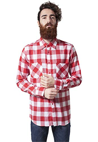 Urban Classics TB297 Herren Regular Fit Freizeit Hemd Checked Flanell Shirt, Gr. Kragenweite: 39 cm (Herstellergröße: S), Mehrfarbig (wht/red 237) von Urban Classics