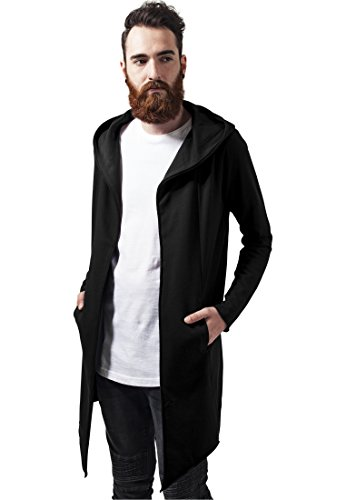 Urban Classics TB1389 Herren Strickjacke Long Hooded Open Edge Cardigan, Gr. Large, Schwarz (black 7) von Urban Classics