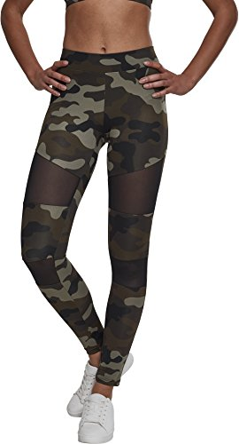 Urban Classics Ladies Camo Tech Mesh Sport Leggings, lange Damen Fitnesshose mit halbtransparenten Einsätzen - Farbe woodcamo/black, Größe 4XL von Urban Classics