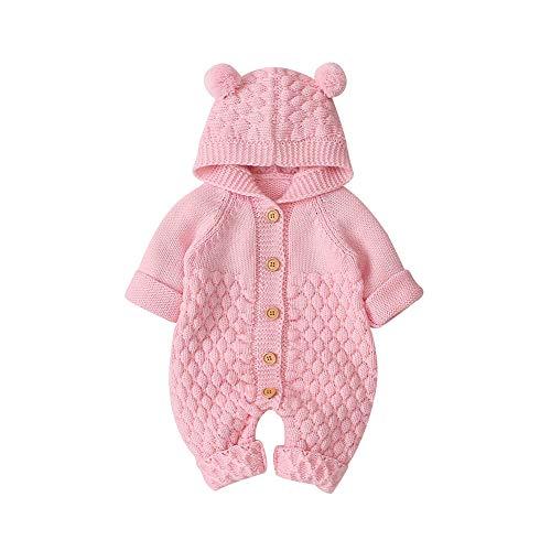 VICROAD Baby Strampler mit Kapuze Neugeborene M/ädchen Jungen Gestrickte Onesies Warme Pullover Overall Outfits