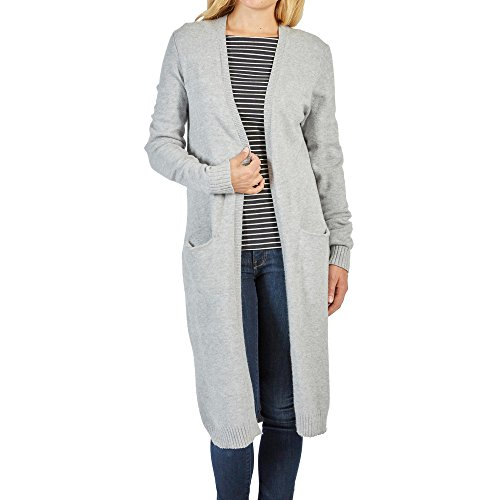 Vila Clothes Damen VIRIL L/S Long Knit Cardigan-NOOS Strickjacke, Grau (Light Grey Melange), 40 (Herstellergröße: L) von Vila
