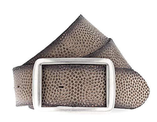 Vanzetti Damen Leder Nieten Gürtel Damengürtel grau 40 mm  Airbrushkanten b 105