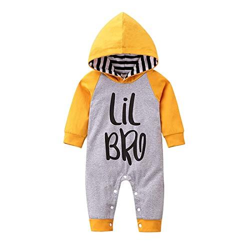 Verve Jelly Neugeborenes Baby Jungen Little Brother Strampler Langarm Bodysuit Overall Jumpsuit Einteiliges mit Hut Outfits