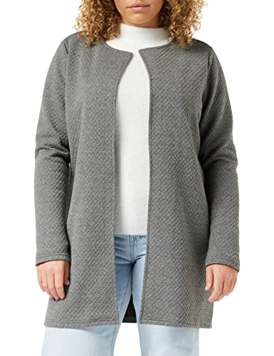 Vila Clothes Damen VINAJA New Long JKT Strickjacke, Grau (Medium Grey Melange), 38 (Herstellergröße: M) von Vila