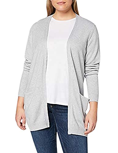 VILA CLOTHES Damen VIRIL L/S OPEN KNIT CARDIGAN-NOOS Strickjacke, Light Grey Melange, L von Vila