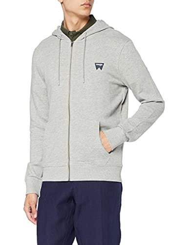 Wrangler Herren Sign Off Zip Sweatshirt, Grau (Mid Grey Mel X37), Large von Wrangler