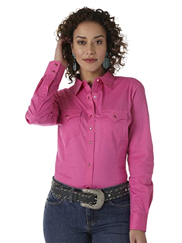 Wrangler Women's Western Yoke Two Snap Flap Pocket Shirt, Pink, Medium von Wrangler