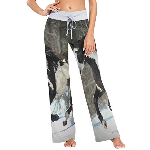 XiangHeFu Damen Pyjamahosen, Yogahosen, Bottom Leggings, High Waist Lounge Pants, Pferd Winter Snow von XiangHeFu