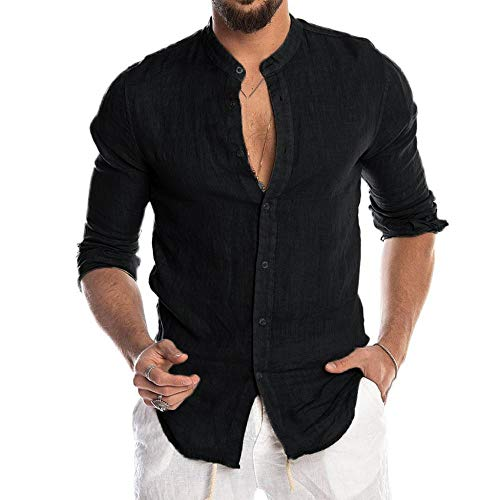 YEBIRAL Herren Hemd Langarm Regular Fit Sommerhemd Freizeit Casual Einfarbige Business Party Basic Männer Langarmhemden von YEBIRAL