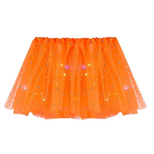 YEBIRAL Tutu-Rock Womens LED-Light Mini Tüllrock 50er Kurz Ballet 3 Layers Tanzkleid Unterkleid Cosplay Petticoat Rock Festliche Karneval Kostüm (Y-1 Orange) von YEBIRAL