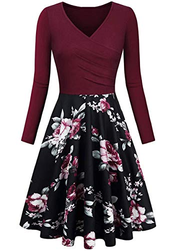 YMING Damen Slim Fit Blumendruckes Damenkleid Retro Ballett Tanzkleid Abschlussballkleid Midikleid Weinrot Blumen XL von YMING