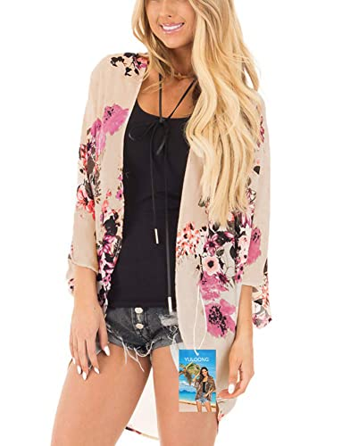 YULOONG Damenmode Bademode Vertuschung Chiffon Blumendruck Kimono Lose Schal Strickjacke Sommer Bluse Bademode Capes, Beige, S von YULOONG