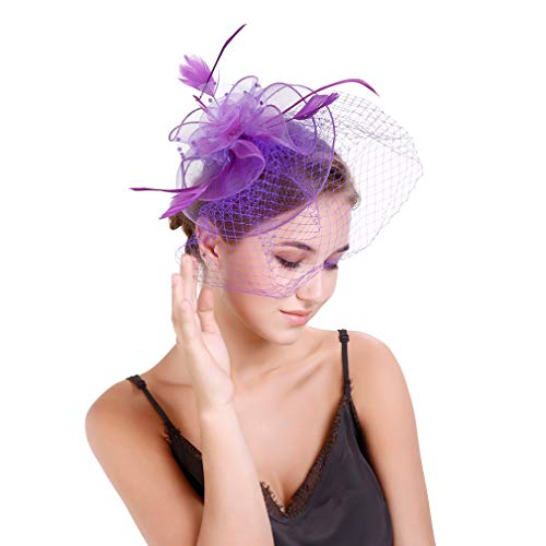 YiyiLai Netz Blume Form Damen Cocktail Party Fascinators Hut Haar Schmucks TeaParty Haar Clip Violett von YiyiLai