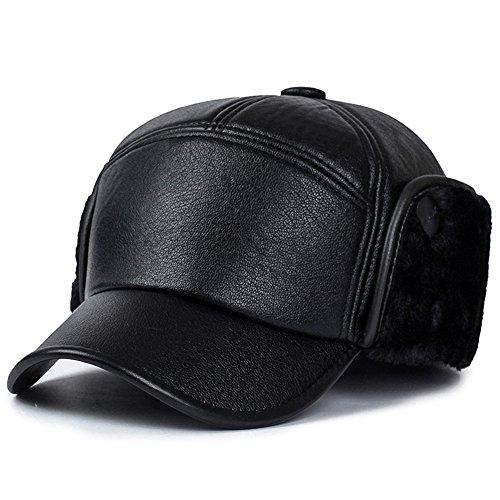 571406b6331aca Yooeen Herren PU Leder Baseball Cap Wasserdicht Basecap Schirmmützen Warme  Wintermütze mit Ohrenklappen Ohrwärmer von Yooeen