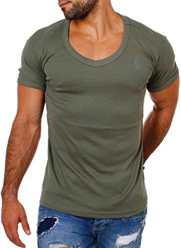 fce8ee4bb7280c Young   Rich Herren Uni feinripp Basic T-Shirt tiefer runder V-Ausschnitt  slimfit